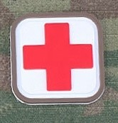 Patch Medic Square PVC Velcro -Blanc Rouge
